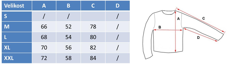 Velikosti za moški pulover